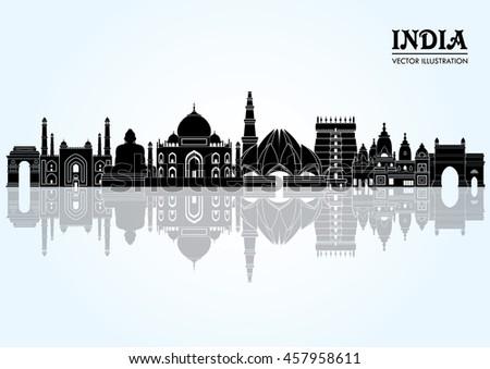 india skyline vector