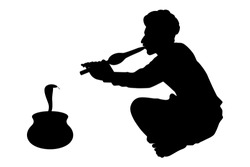 India snake charmer with flute silhouette vector