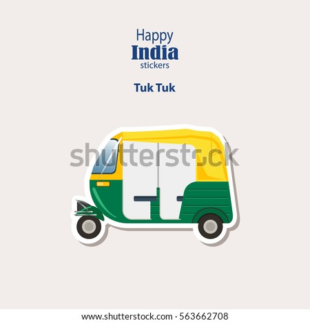 Shutterstock India stickers, Tuk Tuk - Indian Auto Rickshaw. Auto in Dehli. Flat Design. Vector illustration. eps10.