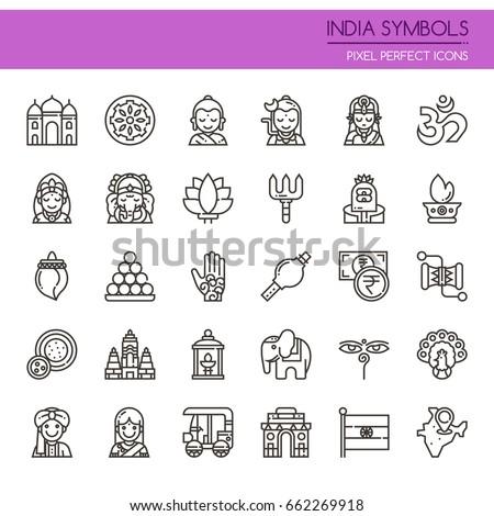 india symbols   thin line and