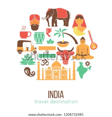 India travel famous landmarks and tourist culture symbols.