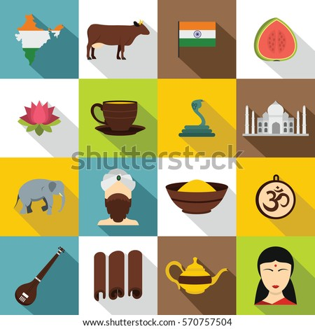 India travel icons set. Flat illustration of 16 India travel vector icons for web
