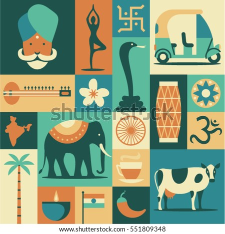 india  vector flat illustration