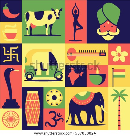 India, vector flat illustration, icon set, pattern, background: Hindu, yoga, snake cobra, car, sitar, lotus flower, drum, om, map, elephant, indian tea, cow, palm tree, candle, flag, pepper