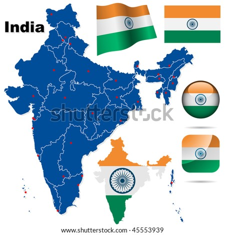 India vector set. Detailed country shape with region borders, flags and icons isolated on white background.