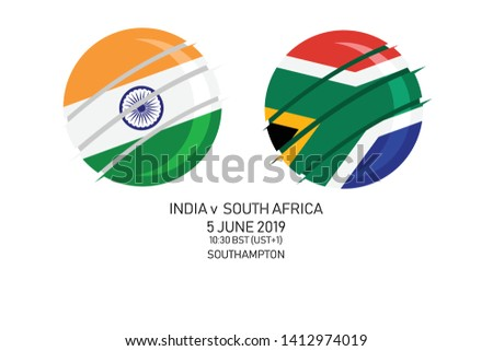 India vs South Africa, 2019 Cricket Match, Vector illustration