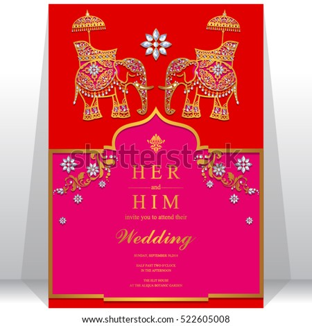 India wedding card, Gold pattern and crystals color.