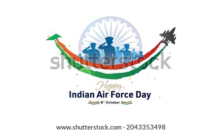 Indian Air Force. 89th anniversary celebration with people saluting and flying fighter jet