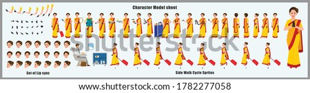 Indian Air hostess Character Design Model Sheet with walk cycle animation. Girl Character design. Front, side, back view and explainer animation poses. Character set with various views and lip sync.
