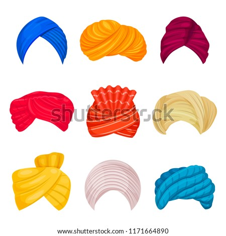 Indian and arabic turban set. Head covering worn by Muslims, different types and colors. Vector turban hats illustration on white background Stockfoto ©