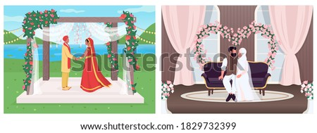 Indian and muslim wedding flat color vector illustration set. Religious ceremony for marriage. Bride and groom 2D cartoon characters with landscape and interior on background collection Stock foto ©