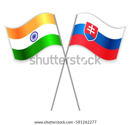 indian and slovak crossed flags
