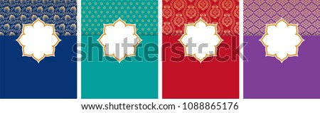 Indian, Arabic style flyer, poster design set, background with ethnic pattern and copy space