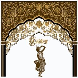 Indian architecture.Indian temple. God Krishna.Architectural arch.Architecture, Arabic Emirates.