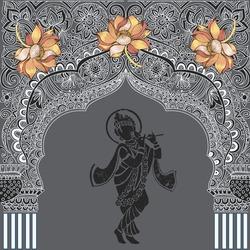 Indian architecture.Indian temple. God Krishna.Flower lotus.