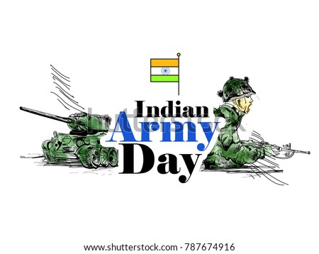 Indian Army Day with tricolour background