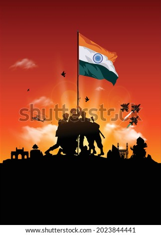 Indian army soldiers freedom fighters holding tricolor flag