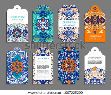 Indian badge set with bright colorful mehendi style ornament. Ethnic ornamental label. Oriental tag design concept. Eastern collection. EPS 10 vector. Clipping masks.