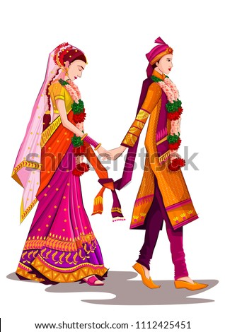 Indian Bride and Groom in ethnic dress Lengha and Serwani for wedding Day. Vector illustration Stock fotó ©
