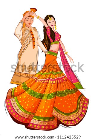 Indian Bride and Groom in ethnic dress Lengha and Serwani for wedding Day. Vector illustration ストックフォト ©