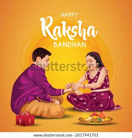 Indian brother and sister festival happy Raksha Bandhan concept. Rakhi celebration in india vector illustration