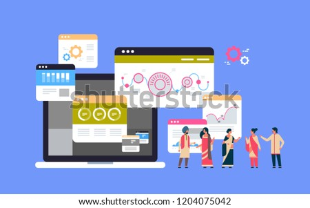 indian business people financial graph diagram chart data analysis concept teamwork brainstorming over blue background flat horizontal vector illustration #1204075042