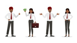Indian business people working in office character vector design.