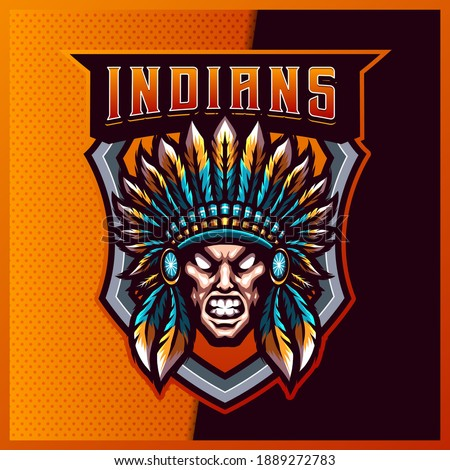 Indian Chief esport and sport mascot logo design with modern illustration concept for team, badge, emblem and t-shirt printing. Apache illustration on isolated background. Premium Vector
