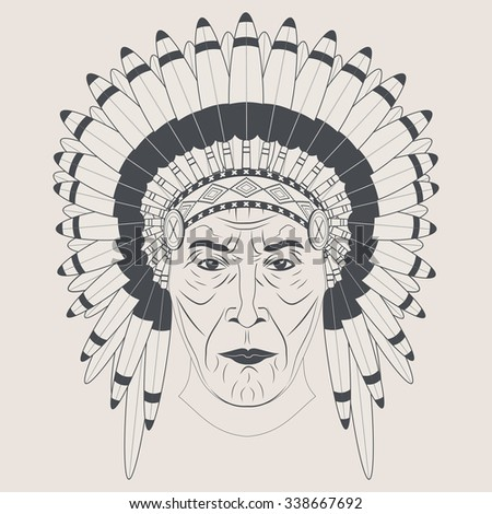 Indian chief in a feathered hat. Front view. Graphic style. Vector Illustration