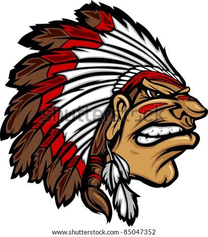 Indian Chief Mascot Head Cartoon Vector Graphic