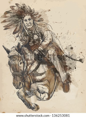 indian chief riding a horse and ...