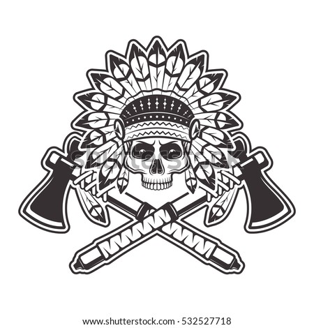 82ad2373d Indian chief skull front view in headdress with feathers and two crossed  tomahawks or hatchets vector