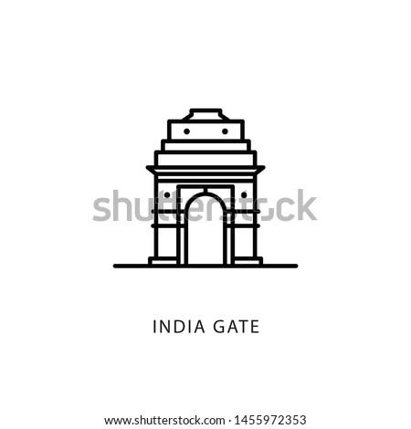 Indian city icon. Delhi-India Gate. Delhi. Minimal vector illustration, linear style.