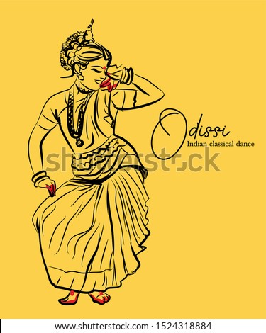 indian classical dance . odissi sketch or vector illustration.