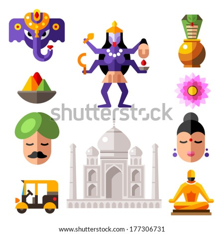 Indian color flat icon set