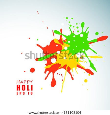 Indian colorful festival Holi celebration background with colors splash EPS 10