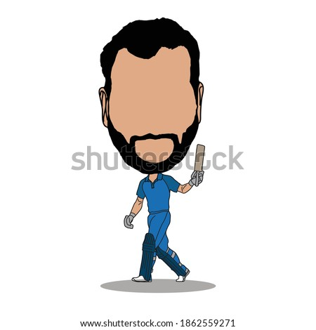 Indian cricket batsman celebrated his 50th run poses, cartoon caricature. illustration vector.