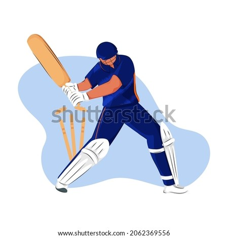 Indian Cricket Batter Losing His Wicket On White And Blue Background.