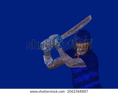Indian Cricket Batter Player In Line Pattern On Blue Background.