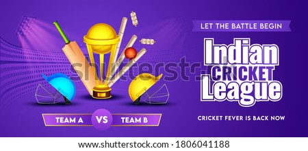 Indian Cricket League Header or Banner of Participate Team A & B with Realistic Cricket Equipment and Golden Trophy Cup on Purple Stadium Background.