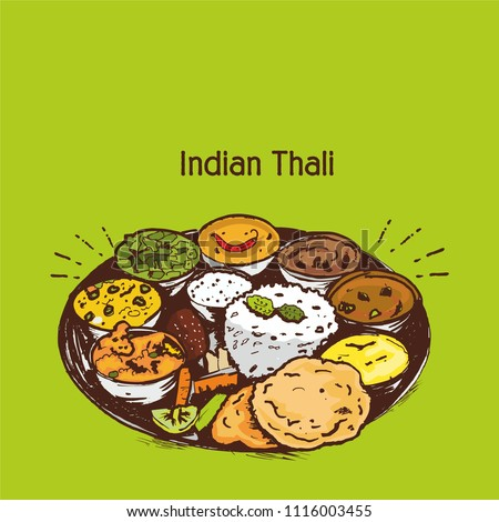 Indian cuisine food and traditional thali vector