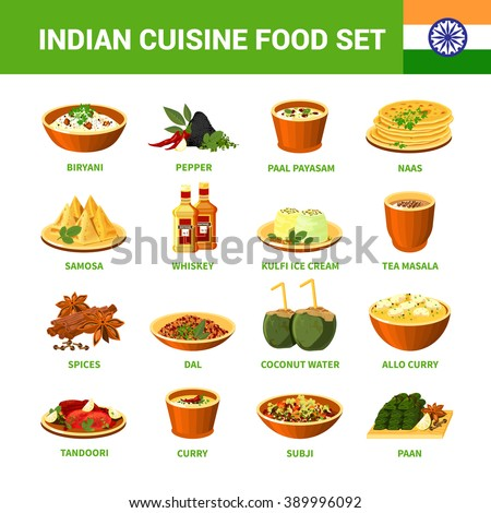 Indian cuisine food set with different dishes spices and drinks isolated vector illustration