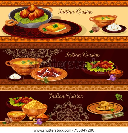 Indian cuisine restaurant banner set. Vegetable rice curry with chicken and fish, seafood shrimp soup, pork meat pilau, fried feta cheese, lentil corn soup and nut cookie for thali menu vector design.