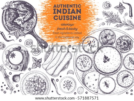 Indian cuisine top view frame. Indian food menu design. Vintage hand drawn sketch vector illustration