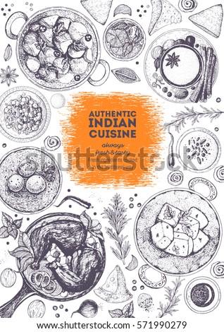 Indian cuisine top view frame. Indian food menu design. Vintage hand drawn sketch vector illustration