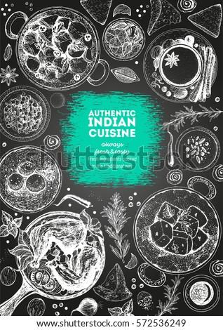 Indian cuisine top view frame. Indian food menu design. Vintage hand drawn sketch vector illustration. #572536249