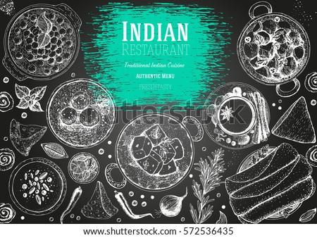 Indian cuisine top view frame. Indian food menu design. Vintage hand drawn sketch vector illustration. #572536435