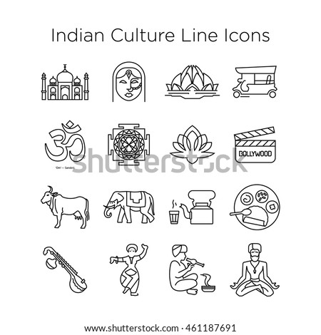 Indian Culture Vector Line Icons