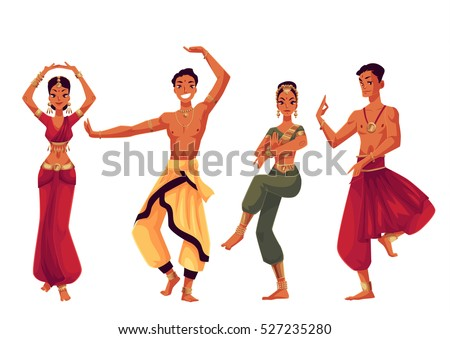 e623a22b2653c Indian dancers in traditional costumes, cartoon vector illustration  isolated on white background. Traditional Indian
