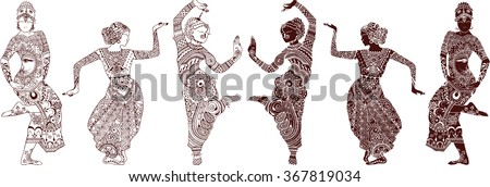 indian dancers set of hand